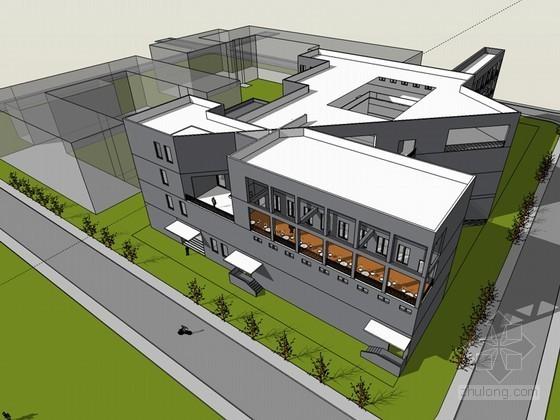 高校图书馆设计SketchUp模型下载