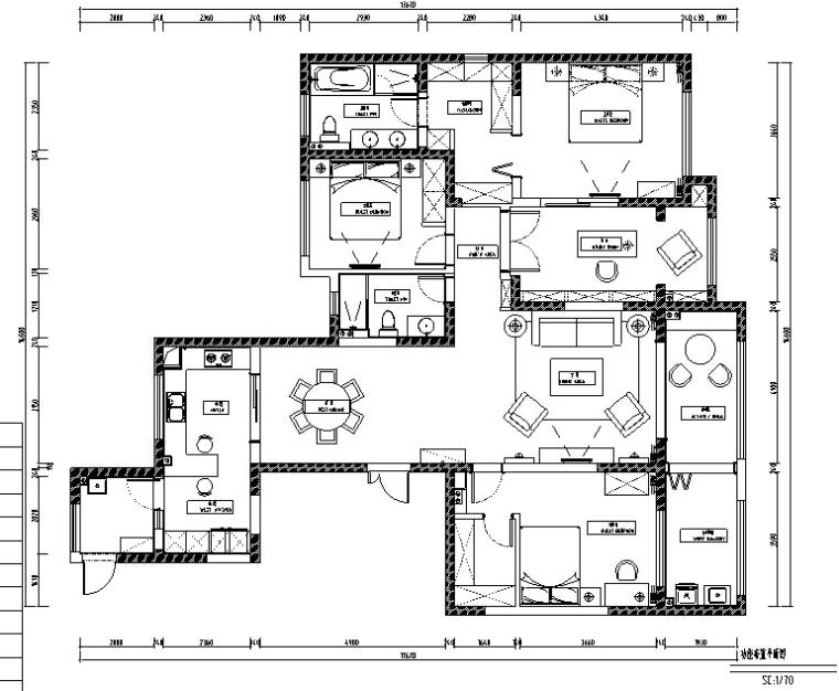 [成都]龙湖香醍漫步191m²简约美式住宅设计施工图及效果图