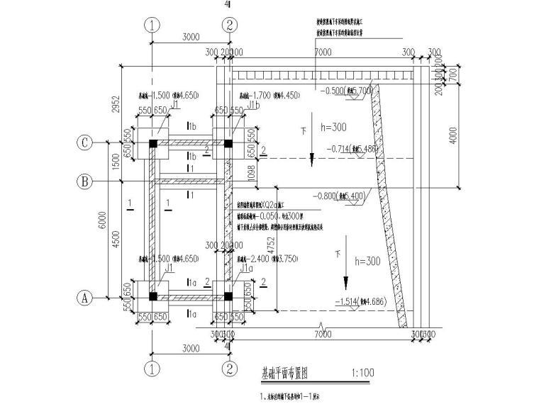 小区门卫建筑结构施工图(南北门两处)