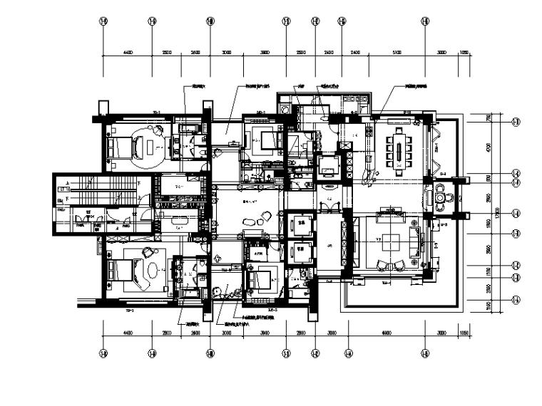 [广东]现代风格样板房CAD施工图(含效果图)