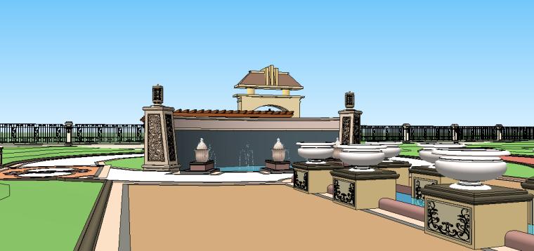 新古典主义居住区景观模型 7