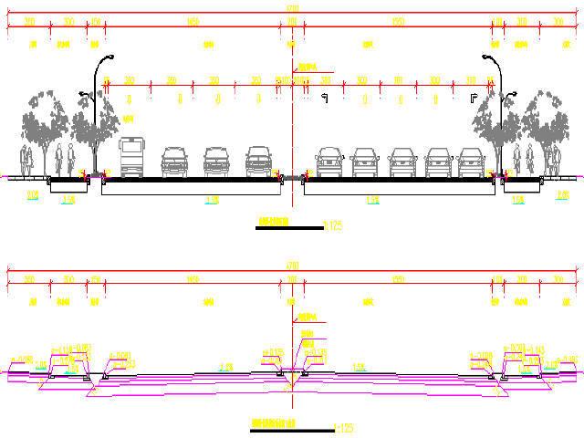 [江苏]2015年设计红线宽40m城市次干道设计图50张CAD(含交通标志)