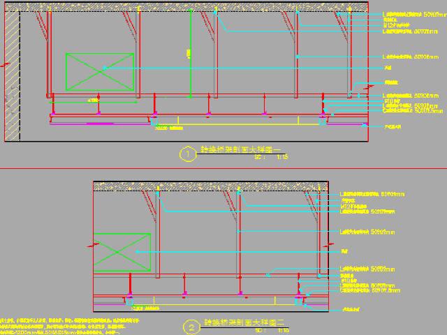 [广东]地铁4线换乘综合交通枢纽工程天花装修设计图纸52张CAD