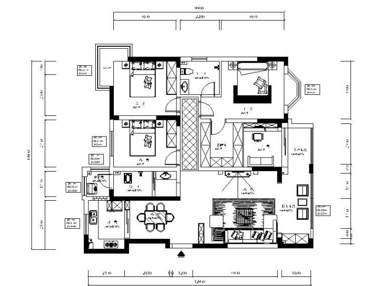 [湖南]后现代风格样板房室内设计施工图(含效果图)
