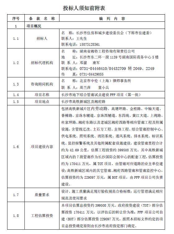 [长沙]综合管廊PPP项目招标文件(共60页)