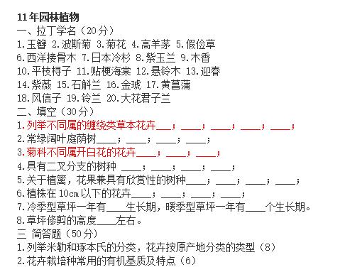 北京林业大学园林植物与观赏园艺专业历年考研真题_1