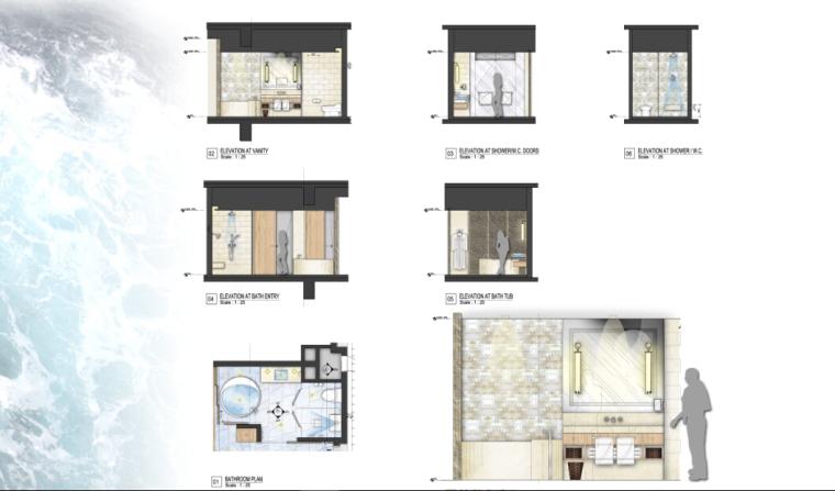 [三亚]某豪华酒店样板房方案设计施工图(含效果图及软装)_4