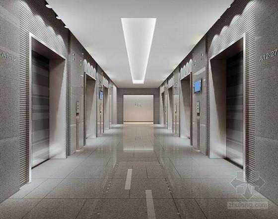 [深圳]高端商务核心区现代科技大厦室内装修图(含效果)电梯厅效果图