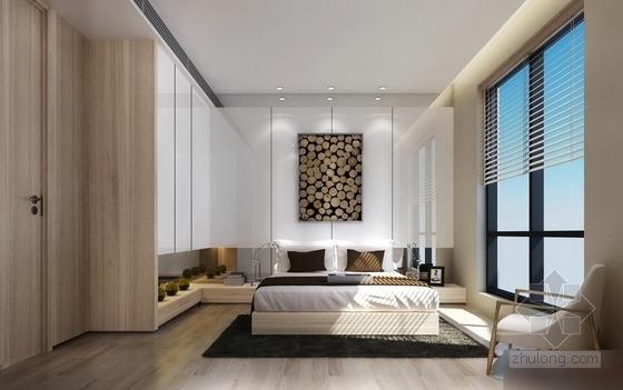 [杭州]现代简约三居室样板间装修图(含效果)卧室效果图