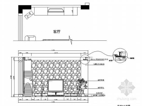 一小套经典三居室家装施工图餐厅立面图