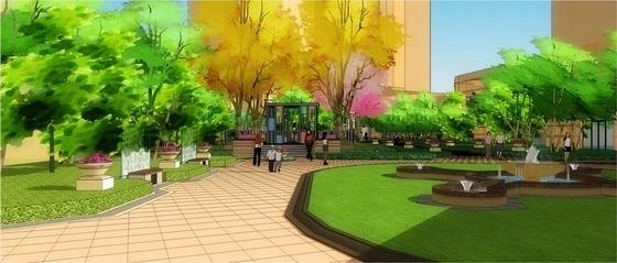 中央喷泉效果图