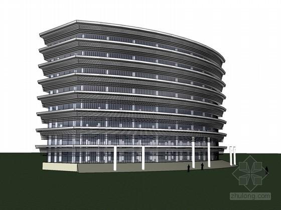 高大办公建筑SketchUp模型下载-高大办公建筑