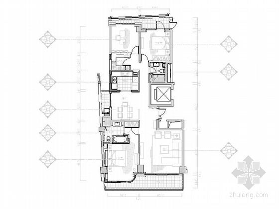 [浙江]长条形户型三居室样板房设计施工图