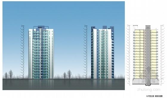 现代风格高层安置区规划方案立面图