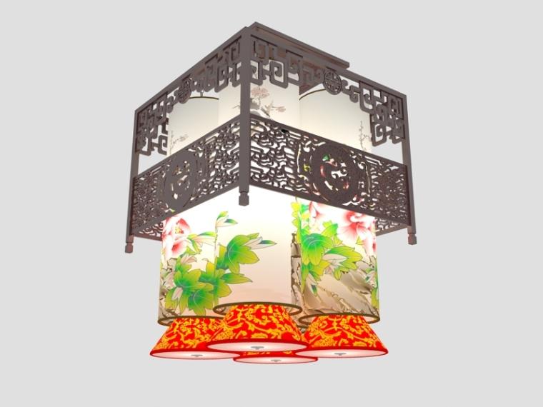 中式画吊灯3D模型下载