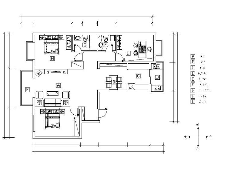 简约风格的三居室设计施工图(含效果图)
