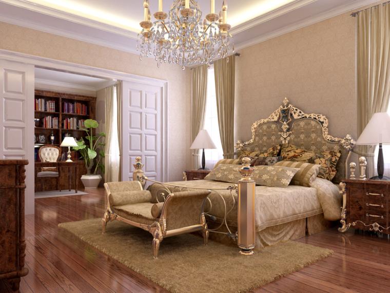 清新欧式卧室3D模型下载