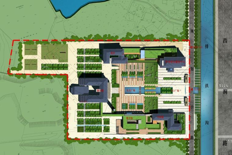 [安徽]高层新中式风格坡顶党校建筑设计方案文本-高层新中式风格坡顶党校建筑总平面图