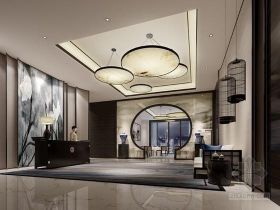 中式风格餐厅入口3d模型下载