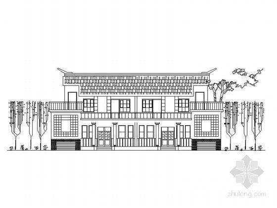 某二层双拼中式别墅建筑方案图