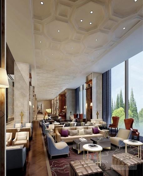 [福建]豪华五星级现代酒店室内设计成果汇报方案大堂吧效果图