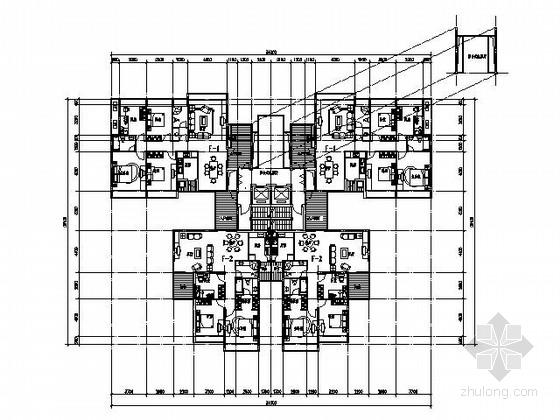 [经典]二梯四户高层住宅户型图(带入户花园,140、120)