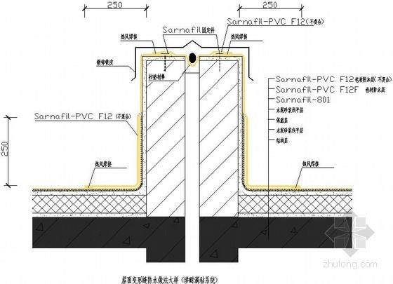 屋面变形缝防水做法大样(渗耐满粘系统)节点详图