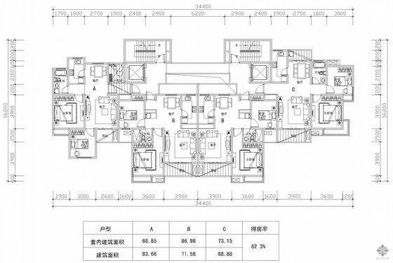板式高层一梯二户户型组合图(84/72/72/89)