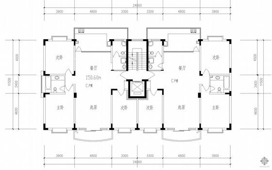板式高层一梯两户户型图(151/151)