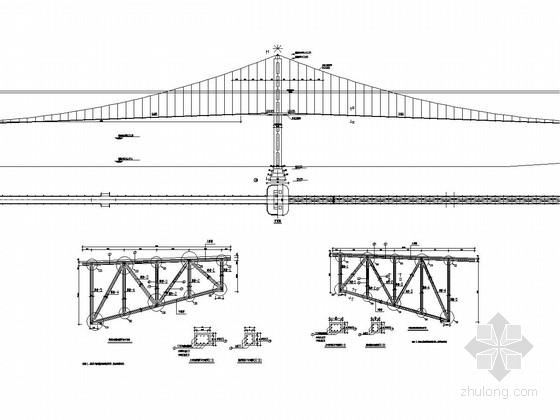 250米跨径钢结构悬索桥全套施工图(48张)