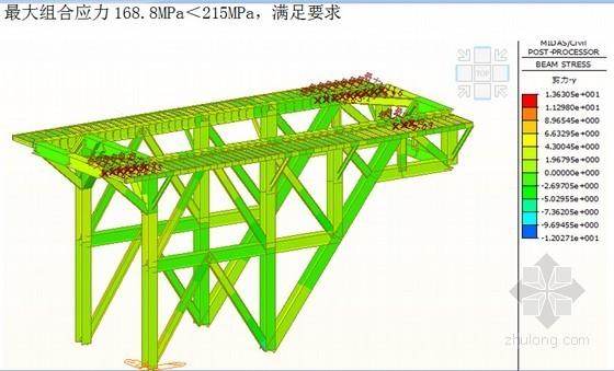 [湖南]大跨径钢桁梁悬索桥主索鞍门架设计计算书33页(知名集团)-最大组合应力168.8MPa<215MPa