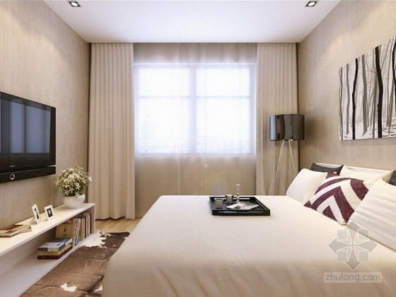 现代简约风格卧室3d模型下载