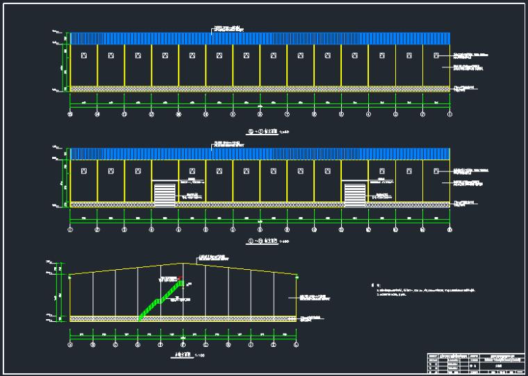 单层水稻门式钢架仓储库结构施工图