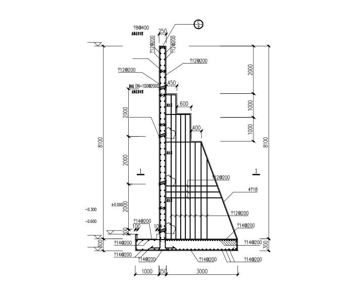 悬臂、扶壁式挡土墙设计详图(CAD、5张)