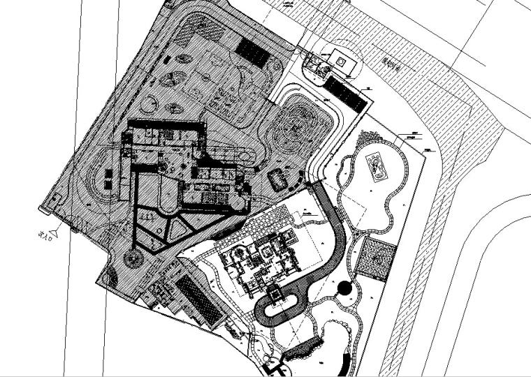 独栋别墅私家花园景观出自著名设计师的施工图--本套施工图包括设-总平底图