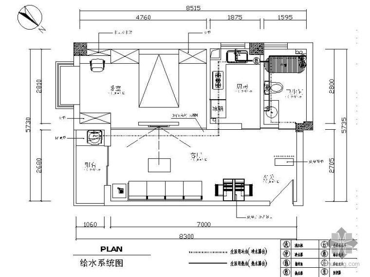 田园风格60㎡一室一厅装修图