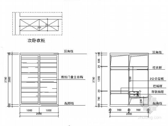 名人雅居三居室室内设计CAD施工图(含效果)衣柜立面图
