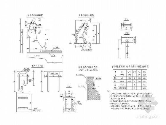 组合式护栏一般构造及钢筋构造图
