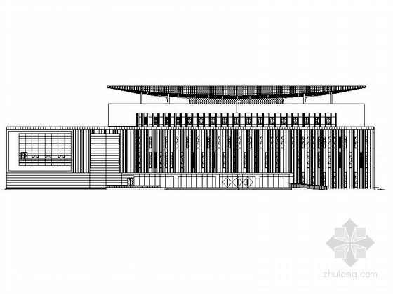 [四川]四层构架屋面弧线型框剪结构县级图书馆建筑施工图