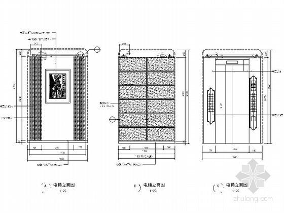 某高档花园小区入户大堂电梯间施工图