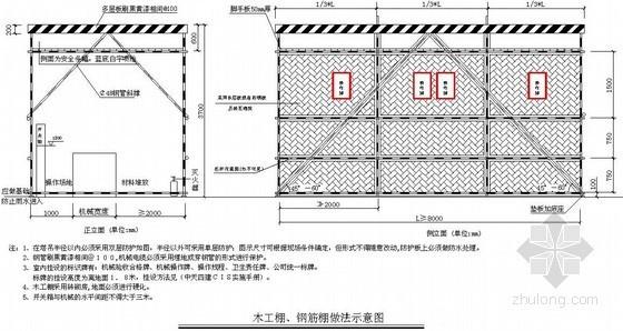 建筑工程木工棚、钢筋棚做法示意图