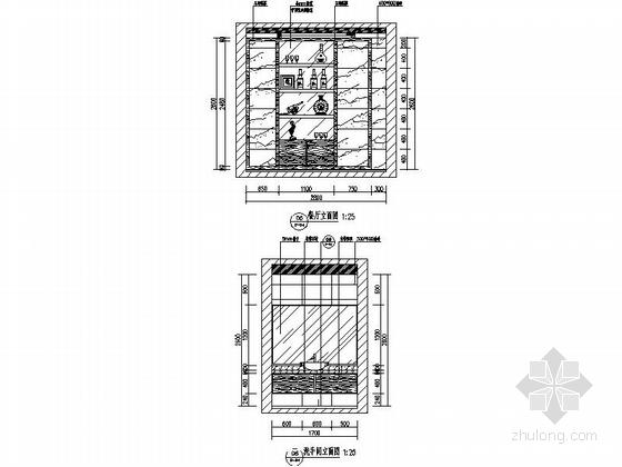 [昆明]新中式复式楼装修设计施工图(含效果)-餐厅及洗手间立面图