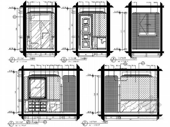 美式风格三居室设计装修图(含效果)公卫立面图