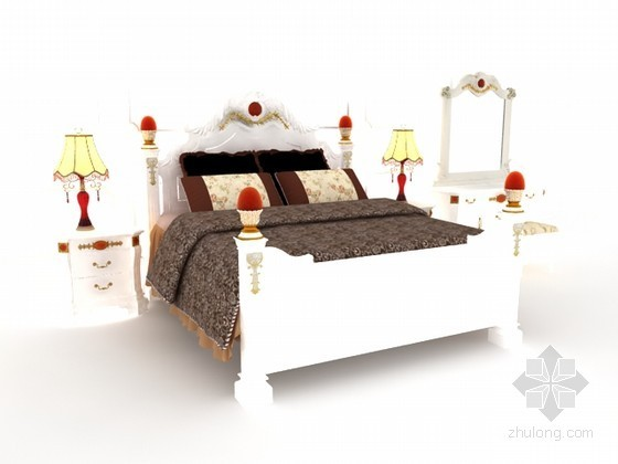 田园风格卧室床具组合3d模型下载