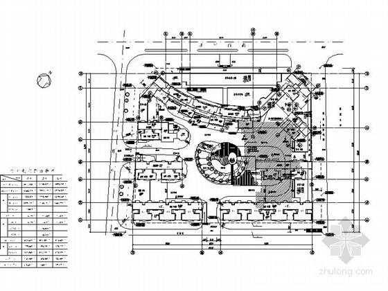 [深圳]古典风格城镇中心地块高层商住两用建筑施工图-古典风格城镇中心地块高层商住两用建筑总平面图
