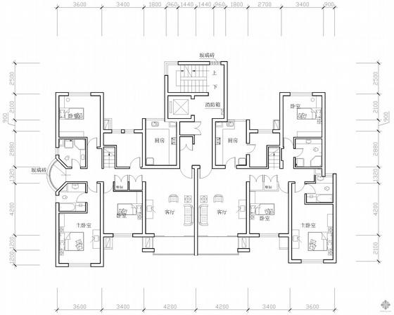 板式高层一梯两户三室二厅二卫户型图(144/152)