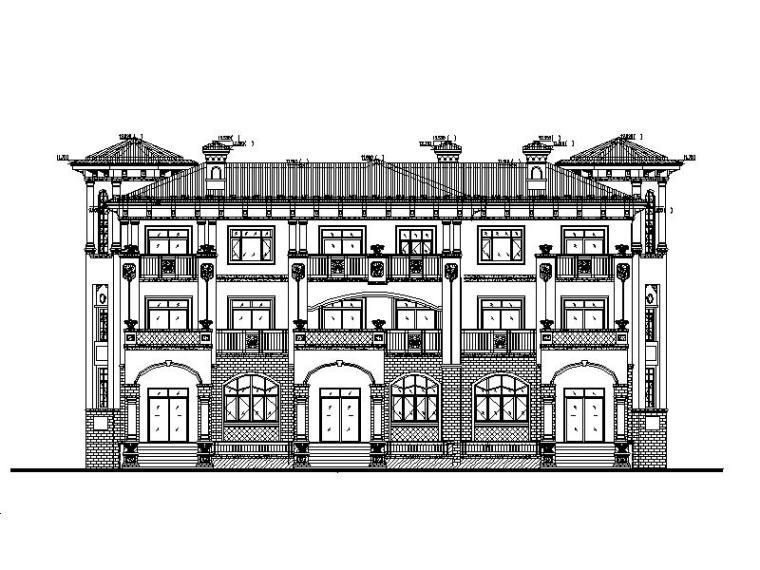 [成都]简欧风格三错接三层联排别墅施工图