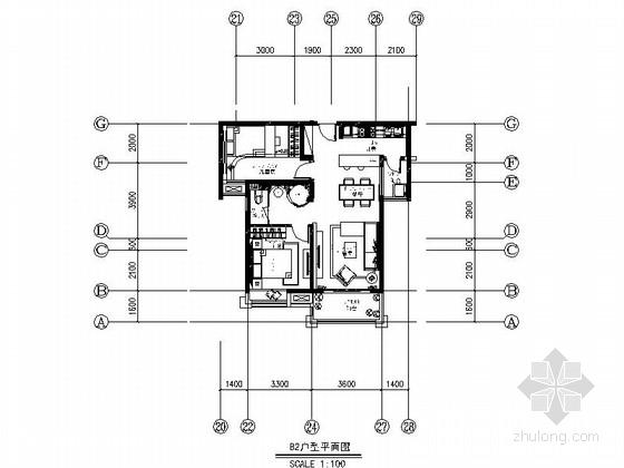 [安徽]温馨现代风格一居室室内装修施工图(含实景)