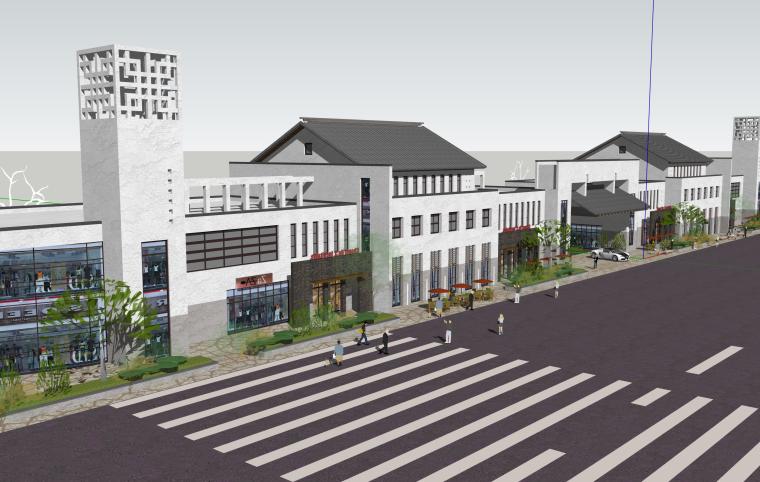 中式商业街步行建筑SU模型