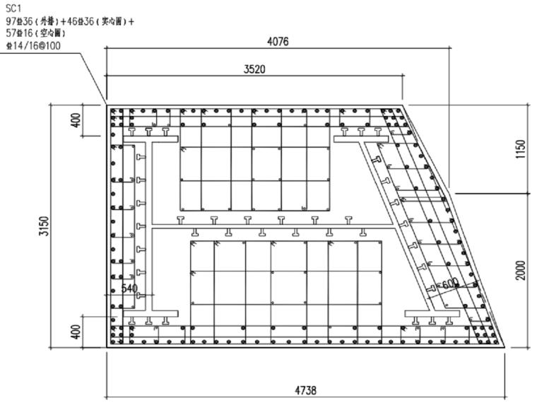 [武汉]商业建筑主塔楼巨柱结构施工方案-02巨柱SC1截面分区图